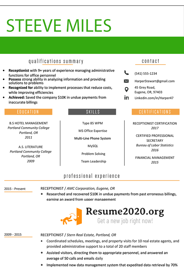 resume 2020 examples