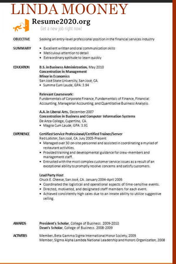 resume 2020 template traditional