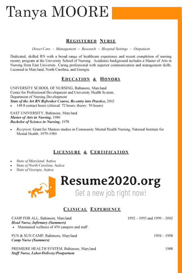 Resume template 2020 chronological