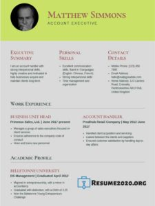 resume template 2020