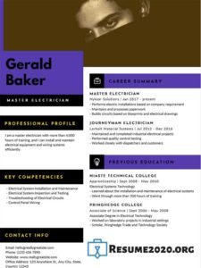 HR resume template 2020