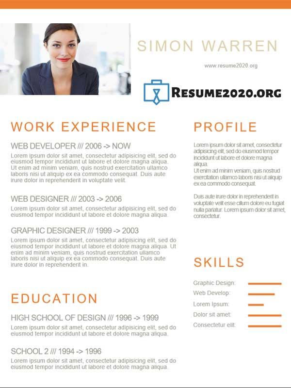 Creative 2020 CV example