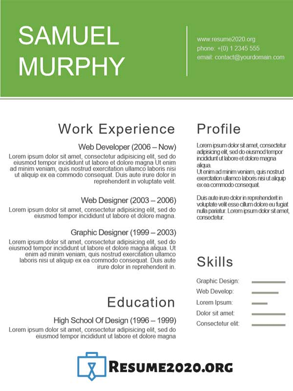 Functional 2020 resume template