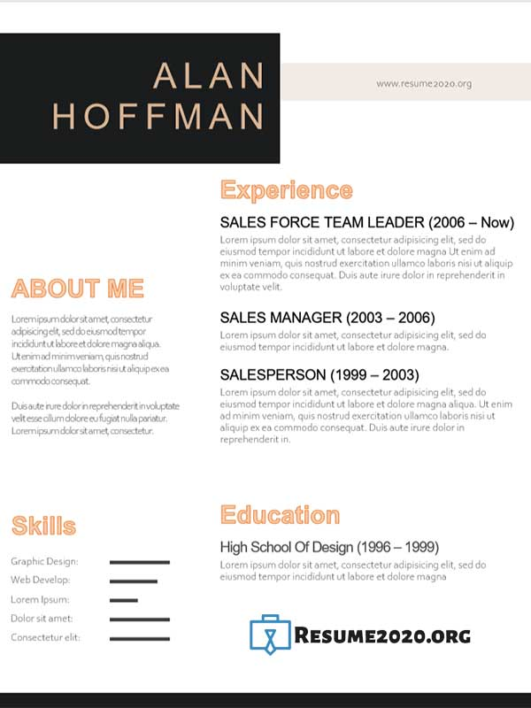 resume templates 2020 example
