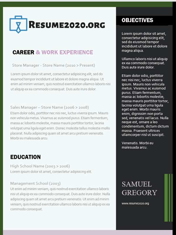 resume 2020 examples new