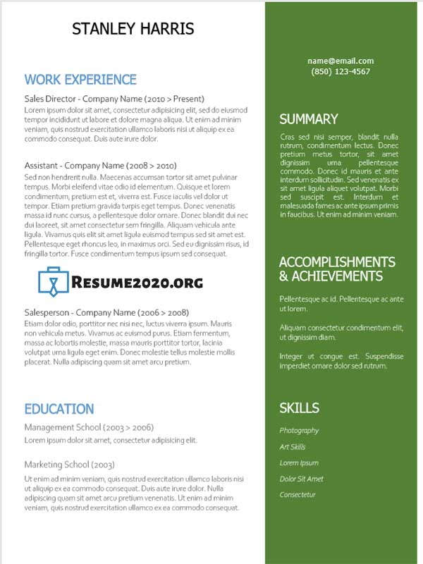 resume format combination