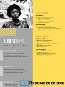 yellow resume sample 2020